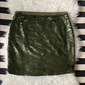 NWT LOFT Olive Sequin mini skirt